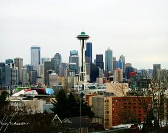 Seattle Skyline Photo - Cityscape Photography 8x12 Seattle Space Needle Photo, wall decor, fine art photo