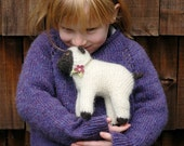 Wool sheep - natural toy - knitted lamb with felt flower