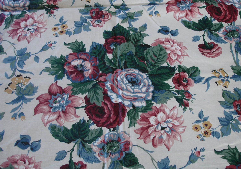 Waverly Fabric 1 Yard Peace Rose Floral Fabric