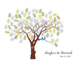 Wedding Tree Guest Book Print--  To Be Personalized With 40-60 Guest's Fingerprints  - 11x14-With1 ink pads and instructions