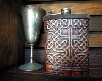 Rustic Flask wrapped with Burgundy and Gold Celtic Leather