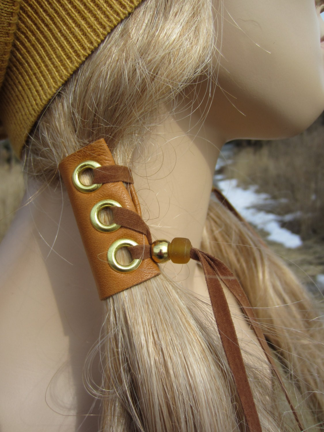 2 Leather Hair Wrap Extensions Ponytail Holder Hair Jewelry