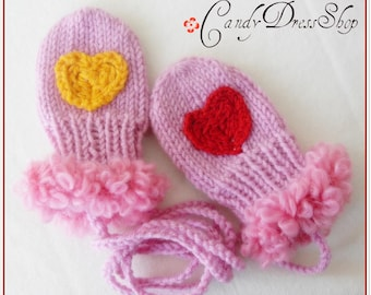 Pink mittens for baby, Hand-knit pink baby gloves, Newborns pink mittens, Artificial furry gloves, Hearted pink gloves, Gift for baby girls