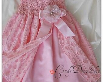 Pink flower girl dress, Light pink dress for girls, Pink party dress, Birthday dress, Baby girls pink dress, Pink Wedding dress