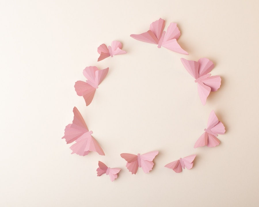 Pink Butterfly Wall Decoration : D wall art pink butterfly decal