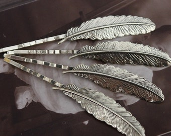 20PCS New Color Wholesale Antique Brass Filigree Feather  Hair  pins Clip Setting- high quality-( PINSS-55)