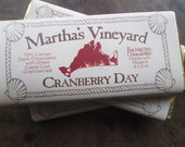 Martha's Vineyard Dark Chocolate Bar Cranberries Cranberry Day 70% Cacao Enchanted Chocolates Martha's Vineyard Island Embossed