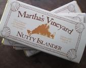 Dark Chocolate Bar Almonds Nutty Islander 70% Cacao Enchanted Chocolates of Martha's Vineyard MV Island Embossed