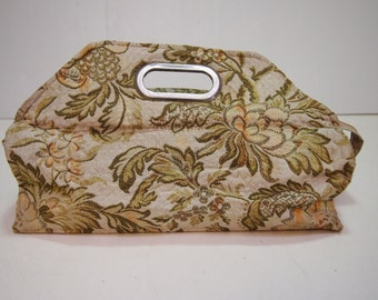 Vintage 1980s beige and green tapestry cosmetics bag