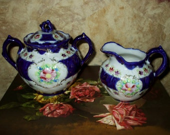 Nippon Era Sugar Bowl Cream Pitcher Creamer Hand Painted Floral Flowers Cobalt Flow Blue Porcelain Antique Victorian Vintage