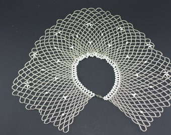 Vintage Beaded Collar Clear Seed Beads Pearls Rhinestones