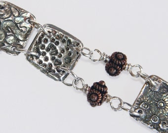 Fine Silver Tiled Dora Bracelet