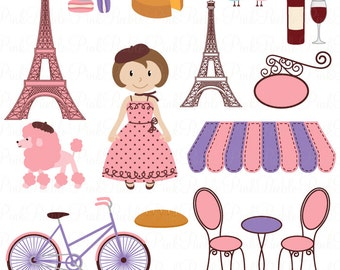 Paris Clip Art Clipart, French Clipart Clip Art with Eiffel Tower and Vectors - Commercial and Personal Use