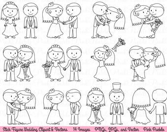 Wedding Stick Figure Clipart Clip Art, Wedding Clip Art Clipart Vectors - Commercial and Personal