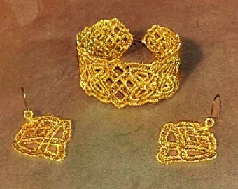 Celtic Gold thread,lace, embroidered Earrings and Braclet Wedding Set