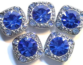 "Five 1/2"" Square 2 Hole Slider Beads 2 Hole Spacer Beads 8mm Sapphire Blue & 2mm Lt. Sapphire Blue Austrian Crystals In Silver Tone Metal"