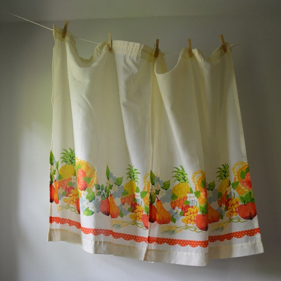 Vintage Curtain Panels 1970's Kitchen Curtains Fruits And