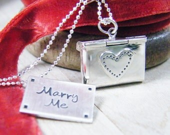 love letter marry me love note sterling silver envelope engagement necklace