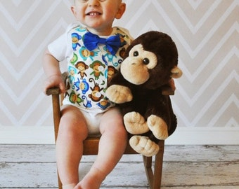 Fun and Adorable Monkey Tuxedo Bodysuit with Matching Bow Tie