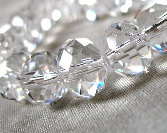 SPECIAL PRICE on TWO strands Clear Crystal Rondelle beads, 6mm x 4mm, 49-50 pieces.