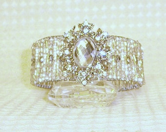 Crystal Beaded Cuff Bridal Bracelet, Free US Shipping