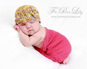 Baby Girl Crochet Hat, Merino Wool Baby Girl Beanie, Crochet Photo Prop
