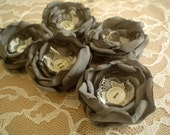 Fabric flowers --- 10 charcoal with lace and vintage buttons --- upcycled