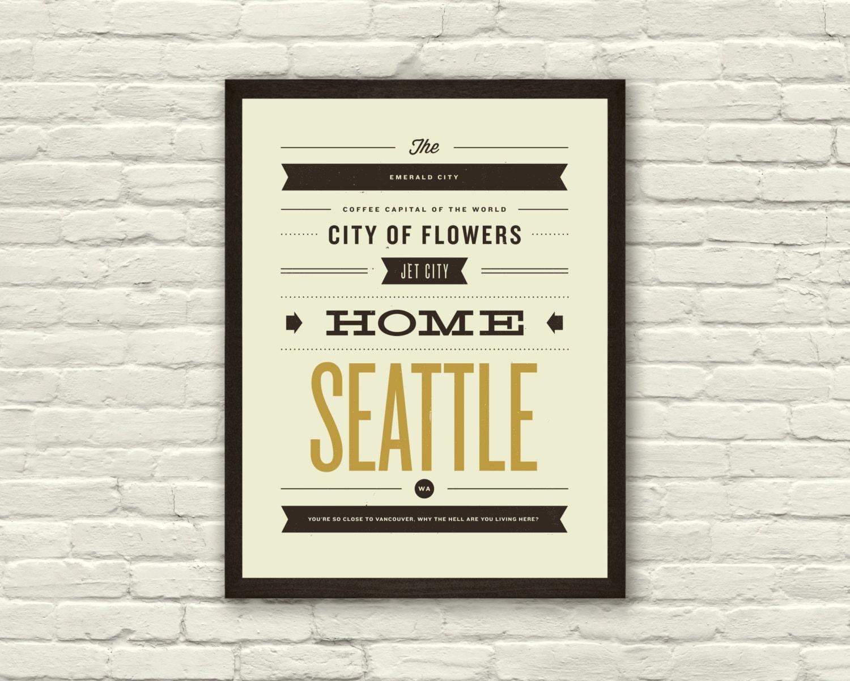 SEATTLE City Poster 11 x14 Typography Art Print Monikers
