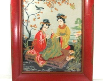 Pair Vintage Silk Screen Painting Japanese Theme by H. Calpini 1930's -40's