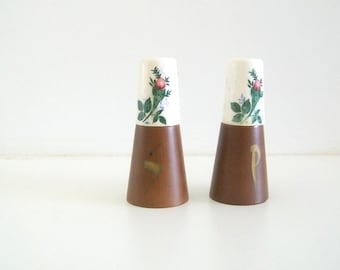 Mid Century Modern Teak and Ceramic Salt & Pepper Shakers