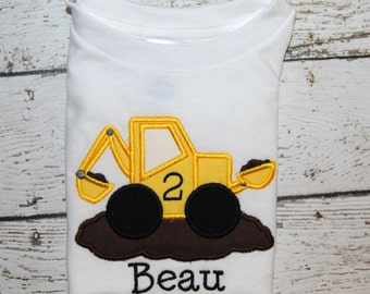 Backhoe Consturction Truck Birthday Personalized Boy's Shirt