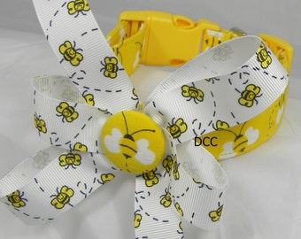 Dog Collar Bumble Bee Honey Bee w Ribbon Bow  Adjustable Dog Collar with D Ring Choose Size