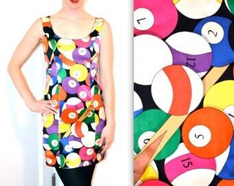 90s Vintage Nicole Miller Silk Dress with Billiards Print// Vintage Silk Dress Size Small By Nicole Miller