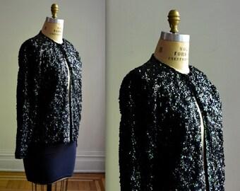 Vintage Black Sequin Jacket Medium// 50s 60s Black Sequined Jacket Cardigan Size Medium