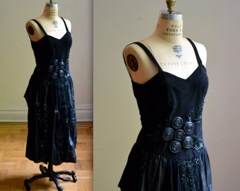Stunning 90s Black Leather Dress, Size Small// 90s Leather and Lace Dress Small