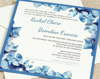 Hydrangea Wedding Invitation, Blue Hydrangea Border, DEPOSIT