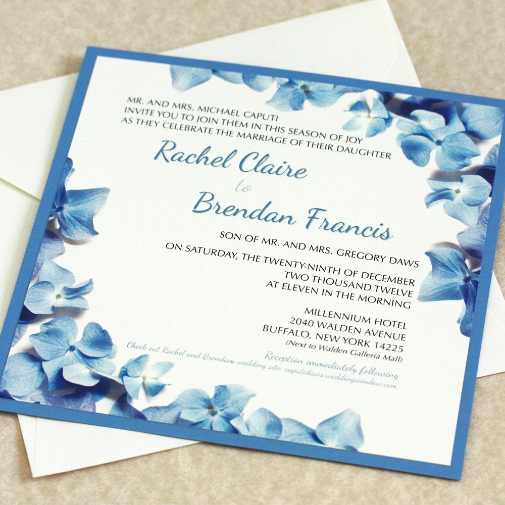 Hydrangea Wedding Invitation Blue Hydrangea Border DEPOSIT