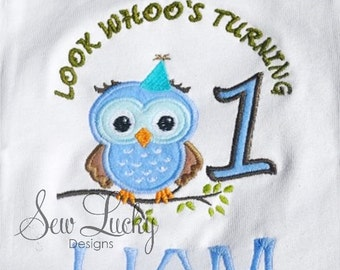 1st Birthday owl applique design - machine embroidery design- Many formats - INSTANT DOWNLOAD