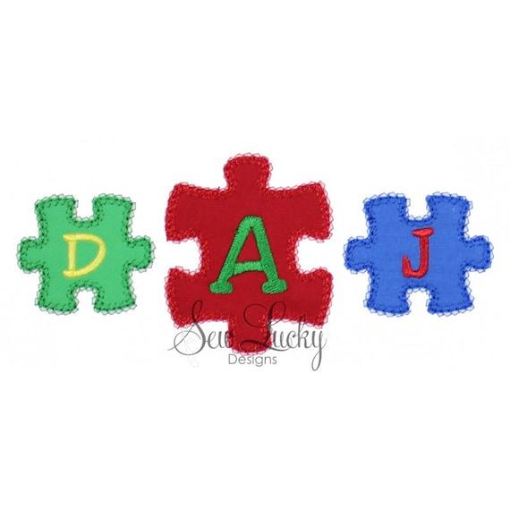 Autism Puzzle Monogram Frame Set Applique Design  Machine