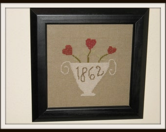 SALE!!!  Primitive 1862 Urn with Blooming Hearts, Framed Rustic Cross Stitch, Valentine