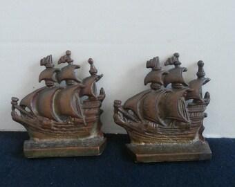 Brass Sailing Ship Book Ends Circa 1950s