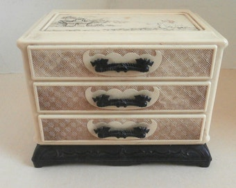 Celluloid Ladies Vanity Chest Asian Relief Circa 1930s