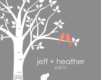 "Wedding Gift Family Tree - You Choose Colors Personalized Custom Love Bird Wedding Tree with Custom Dog Silhouette - 8""x10"" (gray/coral)"