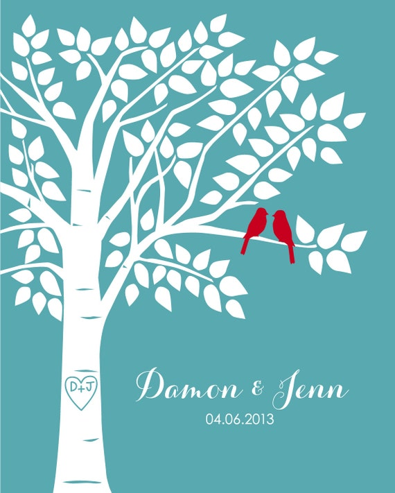 Guest Book Tree Personalized Wedding Print - 16x20-100 Signature Keepsake Guestbook Poster