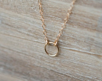 Gold Tiny Eternity Circle Necklace - 14k Gold Filled - Layering Necklace - Simple Everyday Necklace