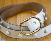 Vintage Suede White and Gold Studded Belt