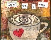 Mixed Media Art: Love for Coffee - 5x5 print - Whimsical Art, Folk Art, Inspirational Art, Wall Art, Coffee Art - red, brown