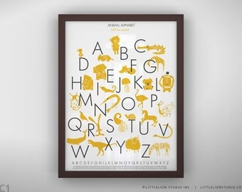 """Animal alphabet poster wall art for children's playroom decor fun learning tools - Unframed 11 3/4  x 15 3/4"""" -  Animal Alphabet Poster"""