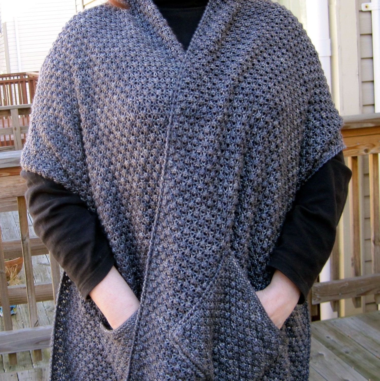 Knit Wrap Pattern: Warm Bramble Lace Pocket Shawl Pattern