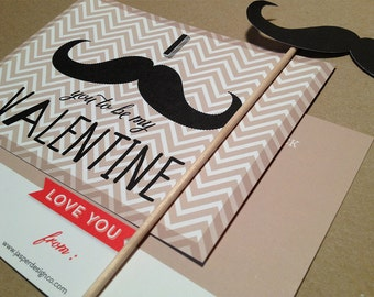 Mustache on a Stick Valentines Day Card - Printable